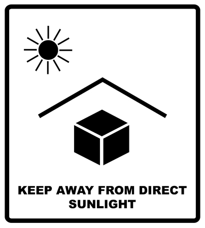 radiacion solar: Vector illustration of the package sign - Keep away from heat - Solar radiation. Keep away from direct sunlight text. Packaging label. Black silhouettes, symple flat style.
