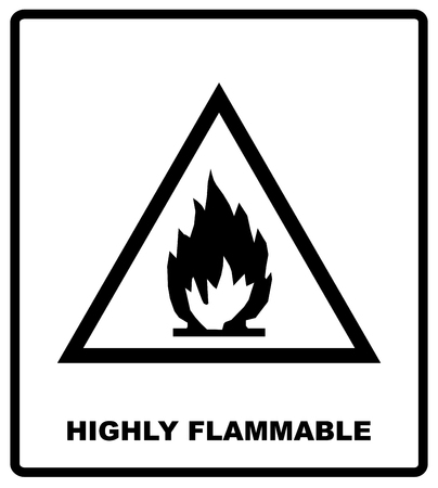 highly flammable: Hazard symbol - Highly flammable. Cargo shipping banner for box. Vector illustration. Black silhouette isolated on white. Packaging symbol in flat style