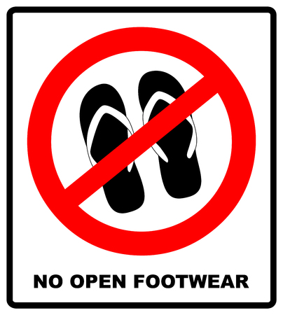 Warning banner of no sandals, thongs or open footwear. No slipper red prohibition circle icon on white background. Not allowed shoe symbol. Forbidden entry. Ban flip flops. Vector illustration Illustration