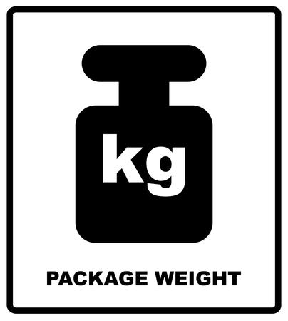 PAKKET GEWICHT verpakkingssymbool op een golfkartonachtergrond. Voor gebruik op kartonnen dozen, pakketten en pakjes, vectorillustratie
