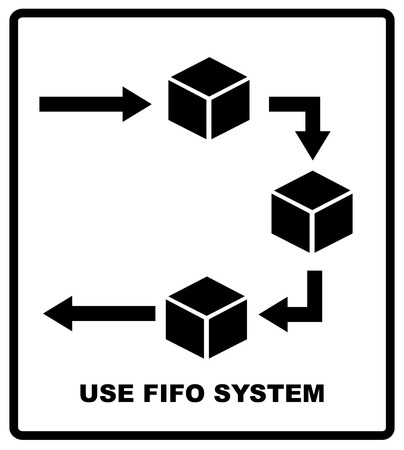prioritization: Use fifo system sign. FIFO - first in, first out. business acronym term, vector illustration. Packaging symbol. Shipping industrial banner Illustration