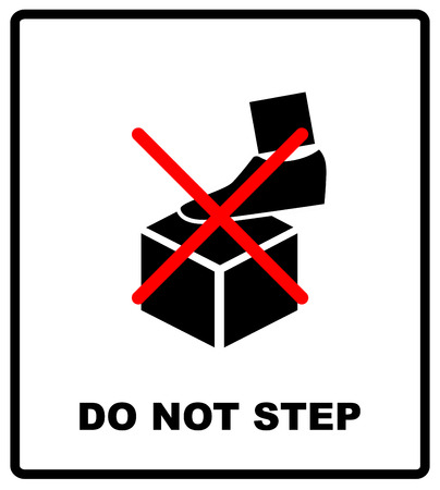 DO NOT STEP packaging symbol on a corrugated cardboard background. For use on cardboard boxes, packages and parcels. Vector illustration.