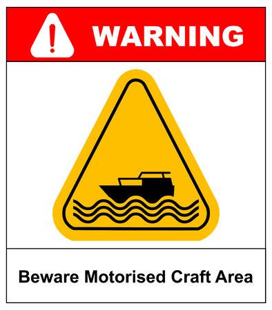 motorised: Beware of motorised craft area. Warning sign in yellow triangle isolated on white. Vector stock illustration. Illustration