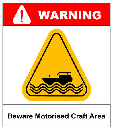 Beware of motorised craft area. Warning sign in yellow triangle isolated on white. Vector stock illustration. Illustration