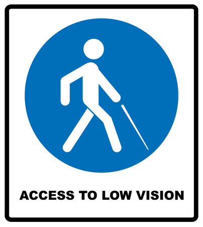optician: Access to Low Vision symbol. blindness line icon, outline vector logo illustration, linear pictogram isolated on white. Disabled sign for public places and web. Vector illustration