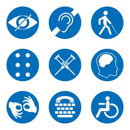 벡터 비활성화 된 농 아, 바보, 음소거, 장 님, 점자 글꼴, 정신 질환, 낮은 시력, 휠체어 아이콘. 공공 장소 및 웹 디자인을위한 필수 표지판 모음