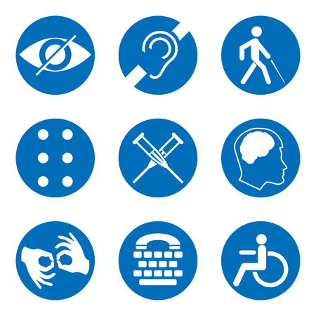 Vector disabled signs with deaf, dumb, mute, blind, braille font, mental disease, low vision, wheelchair icons. Collection of mandatory signs for public places and web design