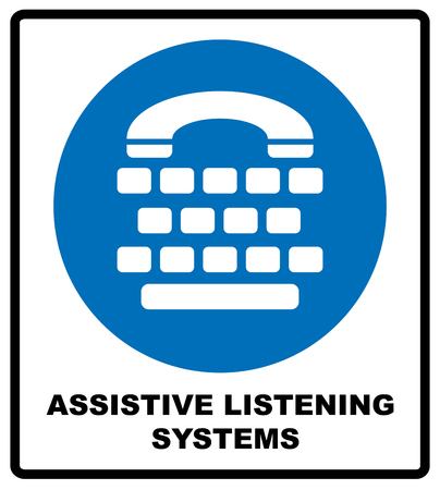 assistive: Assistive listening systems sign. Medical consultration sign. White icon on blue sign as background. Isolated on white. Vector illustration