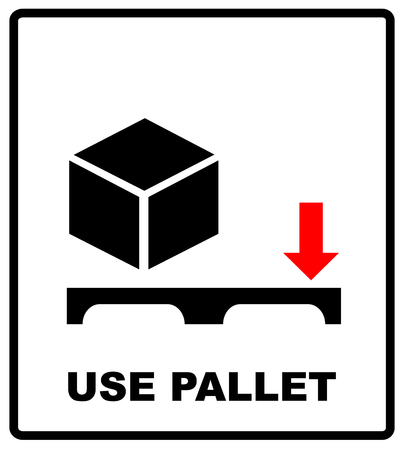 Use pallet sign. Mass vector packaging symbol on vector cardboard background. Handling mark on craft paper background. Can be used on a box or packaging