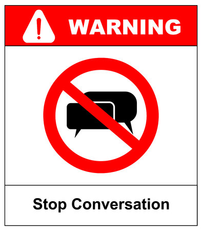 dissemination: Stop conversation. No, stop sign, forbidden. Head talking. Silhouette of a head with sound waves. Ban the Dissemination of information, gossip. Censorship.