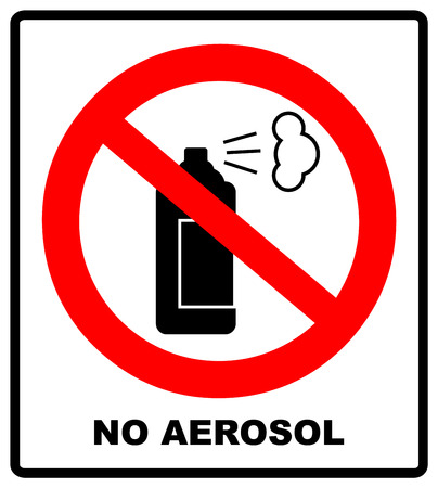 No aerosol spray sign, No alcohol sign illustration, red prohibition circle, for wall, buildings, public places Çizim