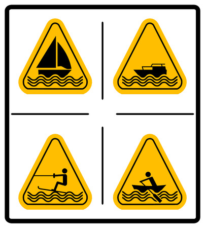 motorised: Beware water skiing, sailing, rowing, motorised craft area signs set. Warning signs in yellow triangle isolated on white. Vector illustration. Summer Water Sport Pictograms Flat icons.