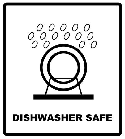 Vaatwasmachinebestendig symbool geïsoleerd. Vaatwasmachinebestendig teken geïsoleerd, vector illustratie. Symbool voor gebruik in pakket lay-out ontwerp. Voor gebruik op kartonnen dozen, pakketten en pakjes