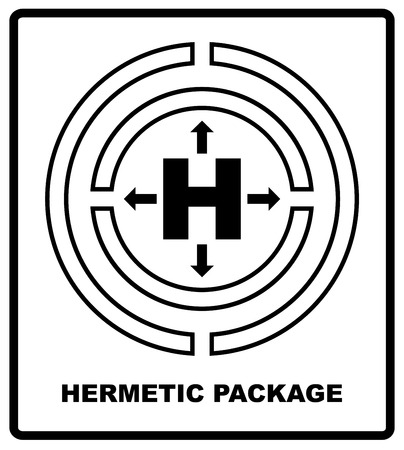 airtight: Hermetic sealing packaging sign isolated on white. Mass vector packaging symbol on vector cardboard background. Handling mark on white background. Can be used on box or packaging. Vector illustration.