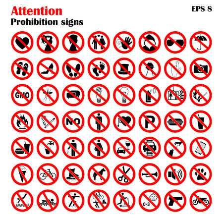 Prohibition sign icons collection, set of vector illustration isolated on white. Red forbidden circle Illustration