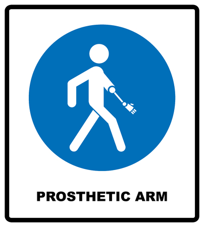 limbs: Prosthetic arm sign. Mandatory blue symbol isolated on white, vector illustration.