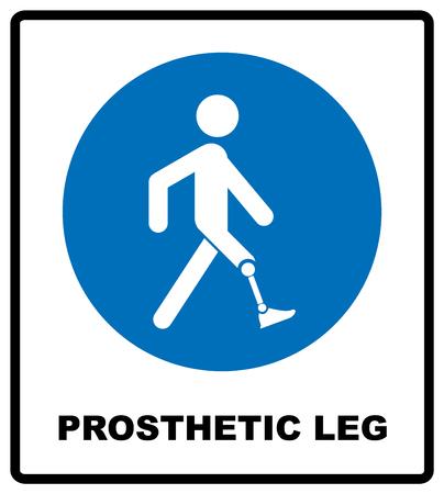 Prosthetic leg sign. Mandatory blue symbol isolated on white, vector illustration.