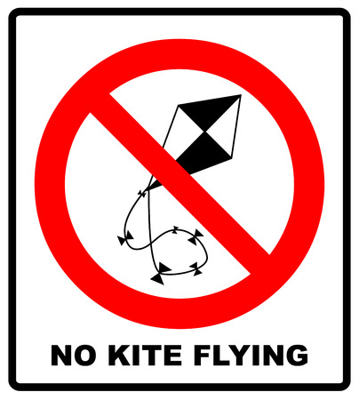 No kite flying sign. Vector illustration. Warning prohibition banner with red circle isolated on white Illustration