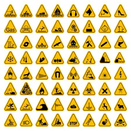 Warning Hazard Triangle Signs Set. Vector illustration. Yellow symbols isolated on white. Illustration