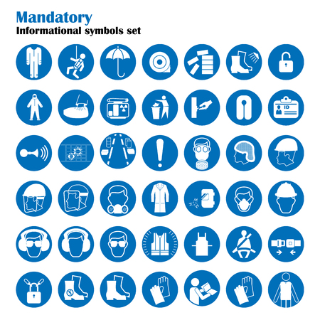 directives: Set of safety and health protection signs. Mandatory construction and industry signs. Collection of safety equipment. Protection on work. Vector illustration Illustration