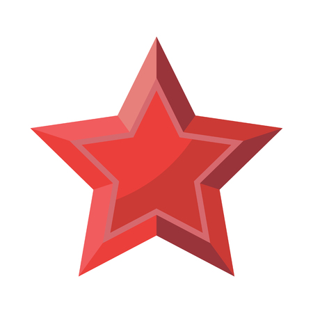 Red Star with shadows isolated on White Background 23 February 9 May. Symbol of victory.