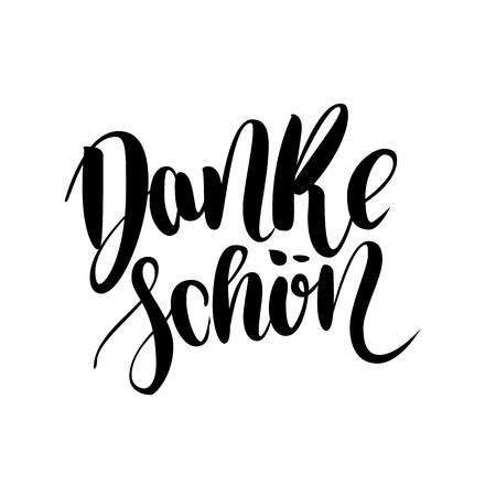Thank You. Danke Schoen. German Language Balck Vector Lettering isolated on White Background. Illustration