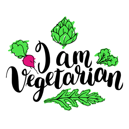 I am vegetarian. Inspirational quote about vegetarian. Modern calligraphy phrase with hand drawn apple. Handwritten lettering for print and poster. Illustration