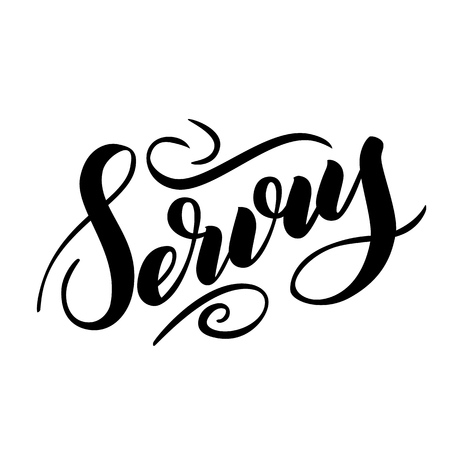 Servus. Traditional German Oktoberfest bier festival with bavarian Servus. Vector hand-drawn brsh lettering illustration isolated on white.