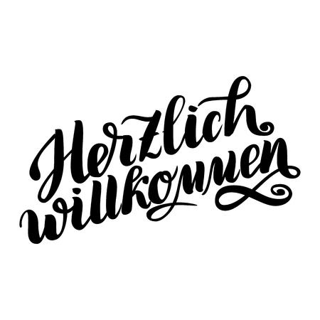 Herzlich willkommen. Welcome. Traditional German Oktoberfest bier festival . Çizim