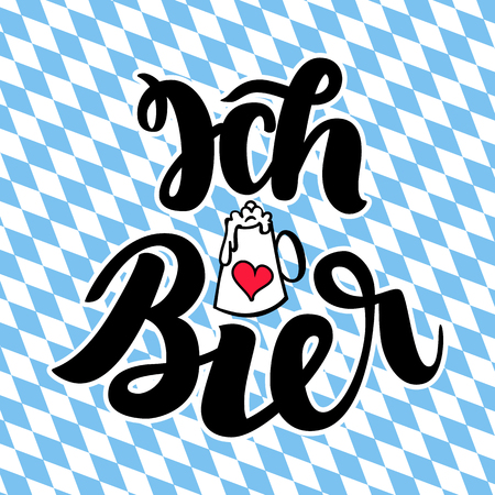 Ich liebe Bier. I love Beer. Traditional German Oktoberfest bier festival. Illustration