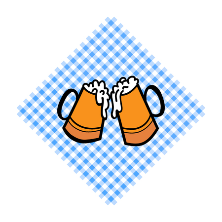 Bayern pattern background. Traditional German Oktoberfest bier festival with two Beer cups. Vector lettering illustration