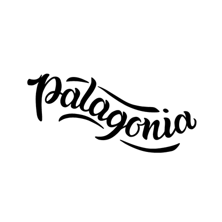 City logo isolated on white. Vintage badge calligraphy in grunge style. Great for t-shirts or poster. Patagonia, South America, Argentina, Chile Иллюстрация