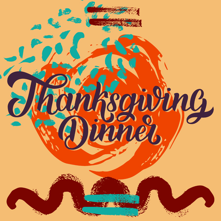 Thanksgiving dinner brush hand lettering against colorful autumn red orange grange background. Calligraphy vector illustration for holiday type design