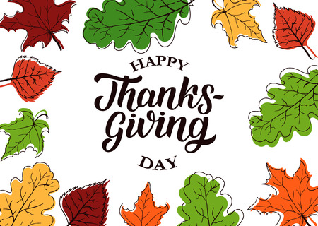 caes: Happy thanksgiving brush hand lettering with sketched autumn leaves, isolated on white background. Calligraphy vector illustration for holiday type design Foto de archivo