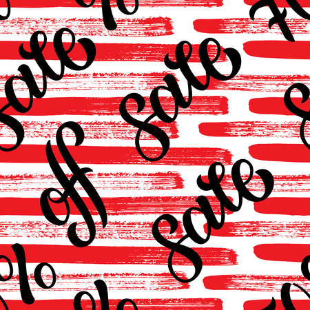 Sale, 70 percent off, text pattern - hand drawn words and lettering, seamless texture for promo, commercial and special offers design. Black friday background. On red grange background Stock Photo