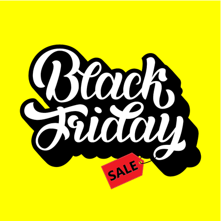 Cyber Monday Sale handmade lettering, calligraphy background for logo, banners, labels, badges, prints, posters, web. Vector illustration white letters in black
