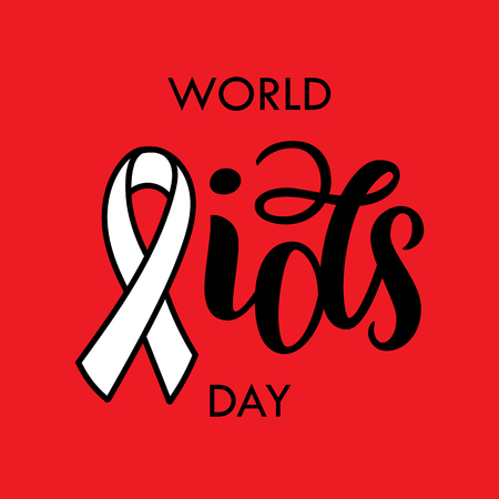 World AIDS Day. AIDS ribbon. Brush black typography for poster or t-shirt. Vector illustration isolated on red. Lettering composition. Illustration