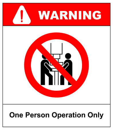 One person operation only sign. Prohibition sign or no sign icon vector simple isolated on white background Stock Photo