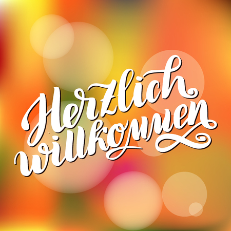 Herzlich willkommen. Welcome. Traditional German Oktoberfest bier festival . Vector hand-drawn brush lettering illustration on orange blurred background.