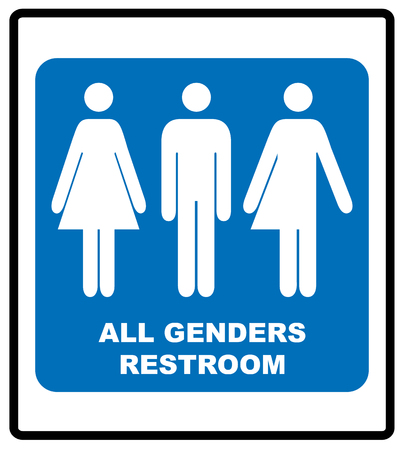 All gender restroom sign male, female, and vector illustration blue symbol mandatory banner.