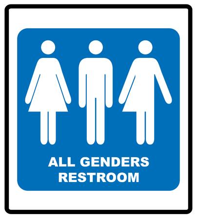 Todos los baños de género signo masculino, femenino y transgénero vector ilustración azul símbolo obligatorio banner.