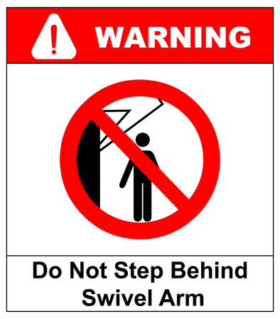 Do not step behind swivel arm sign no people under raised load flat vector illustration warning banner prohibition symbol.