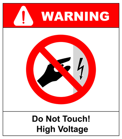High voltage inside do not open or touch within keep out prohibited warning banner Иллюстрация