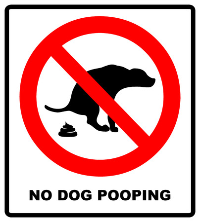 No dog or pets poop zone red sign warning prohibition symbol