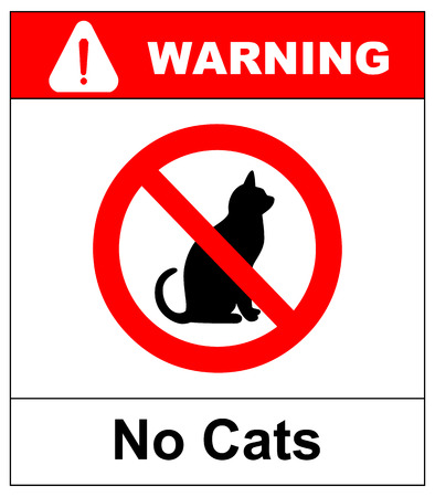No cats. Prohibiting sign location or entry of pets at this point or territory. Vector illustration isolated on white. Warning red prohibition symbol