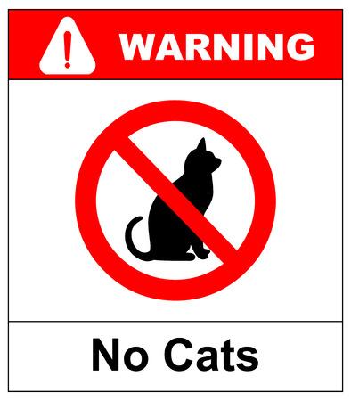 Pas de chat. Interdire l'emplacement des panneaux ou l'entrée des animaux de compagnie à ce point ou territoire. Illustration vectorielle isolée sur blanc Symbole d'interdiction rouge d'avertissement Banque d'images - 91474221