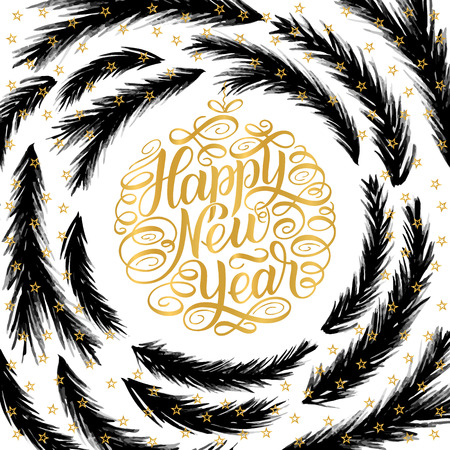 Happy New Year, lettering Greeting Card design circle text frame isolated on white background with gold letters and stars and black christmas tree brunches frame. Vector illustration.