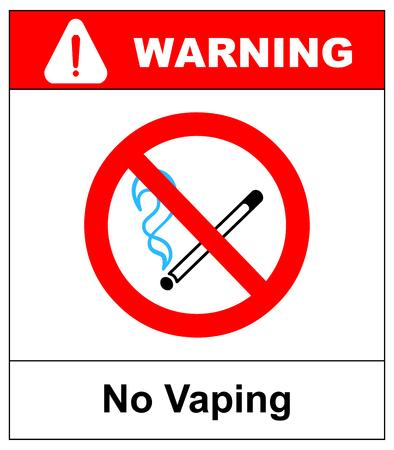 Geen dampend teken. Rook geen elektronisch sigaretten-symbool. Vectorillustratie geïsoleerd op wit. Waarschuwing verboden rood pictogram voor openbare plaatsen, klaar voor gebruik.