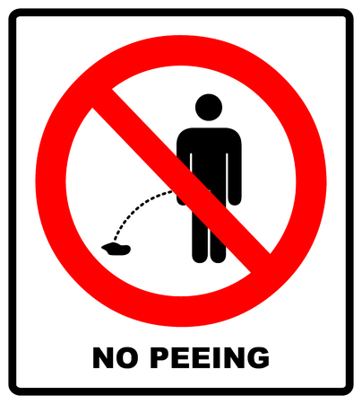 No peeing vector sign illustration isolated on white background. No urinating on floor sign, impolite behavior pictogram. Warning forbidden red symbolfor forests and public places, ready to use