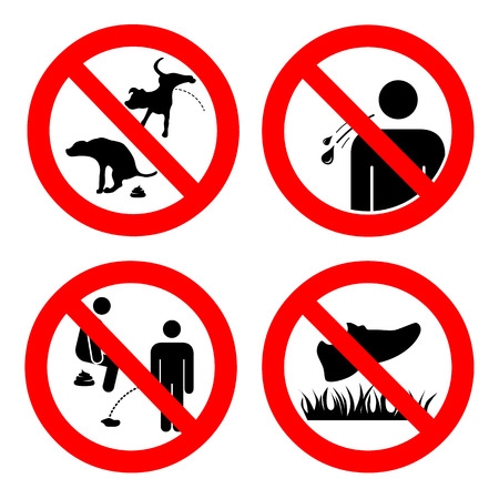 No pooping and peeing people and pets, do not walk on lawns, no spitting sign. Collection of symbols. Vector illustration isolated on white. For outdoors and public places.